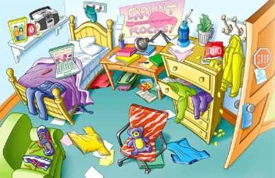 Messy Bedroom Clipart.