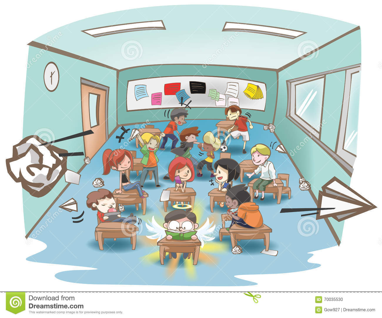 Cartoon Messy School Classroom Full Of Naughty Kid Student.