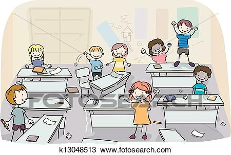 Stick Kids in Messy Classroom Clipart.