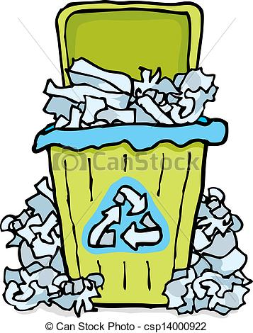 Messy Trash Can Clipart.