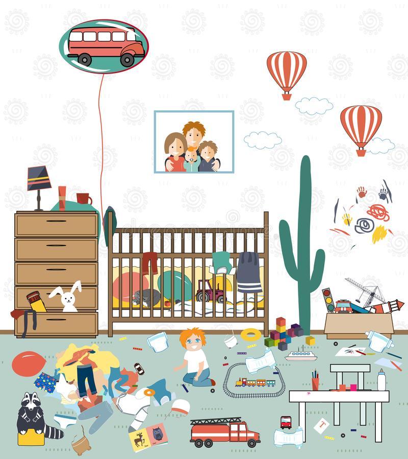 Messy Room Stock Illustrations.