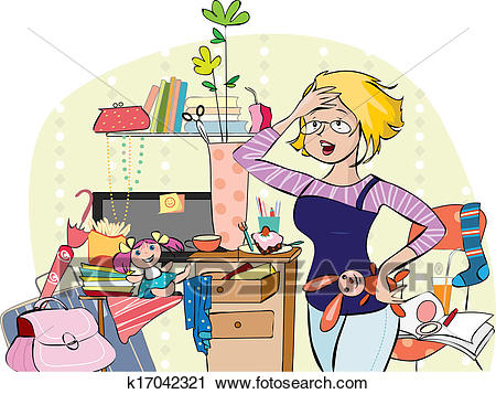 Mom in a messy room Clipart.