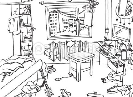 Messy Room Clipart Black And White.