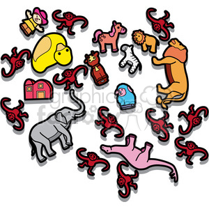 messy toy room illustration graphic clipart. Royalty.