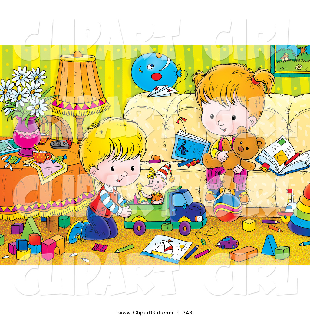 Clip Art of a Brother and Sister Playing with Toys in a.