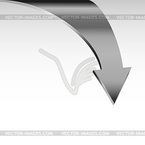 Silver metal arrow points down.