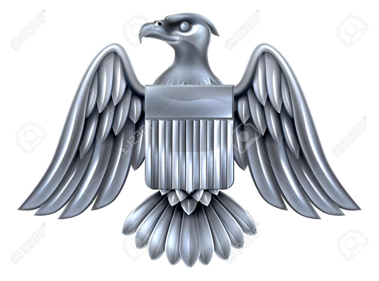 Silver Metal American Eagle Design With Bald Eagle Of The United.