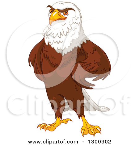 Cartoon of a Patriotic American Bald Eagle Presenting and Wearing.