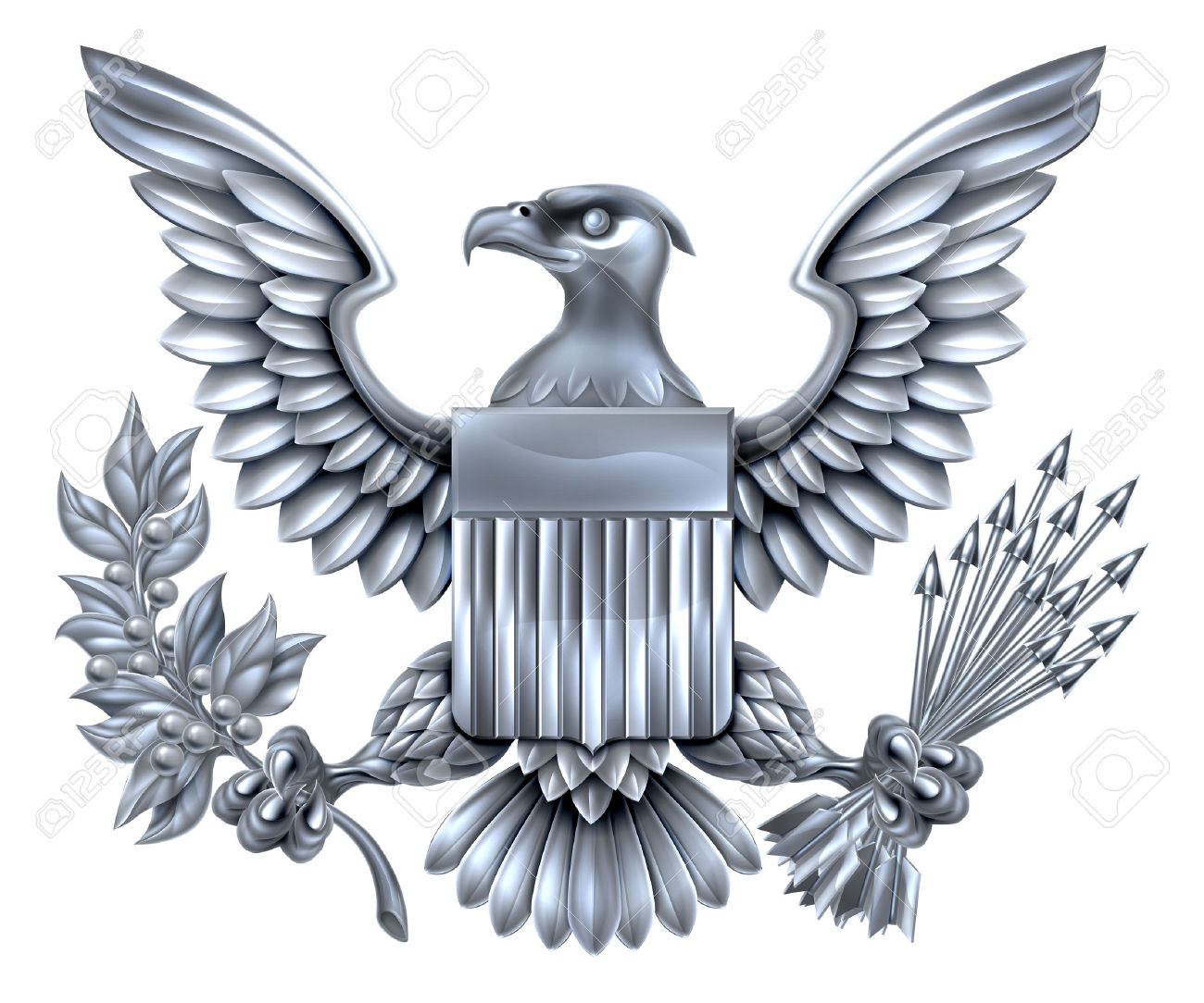 Silver Steel Metal American Eagle Design With Bald Eagle Like.