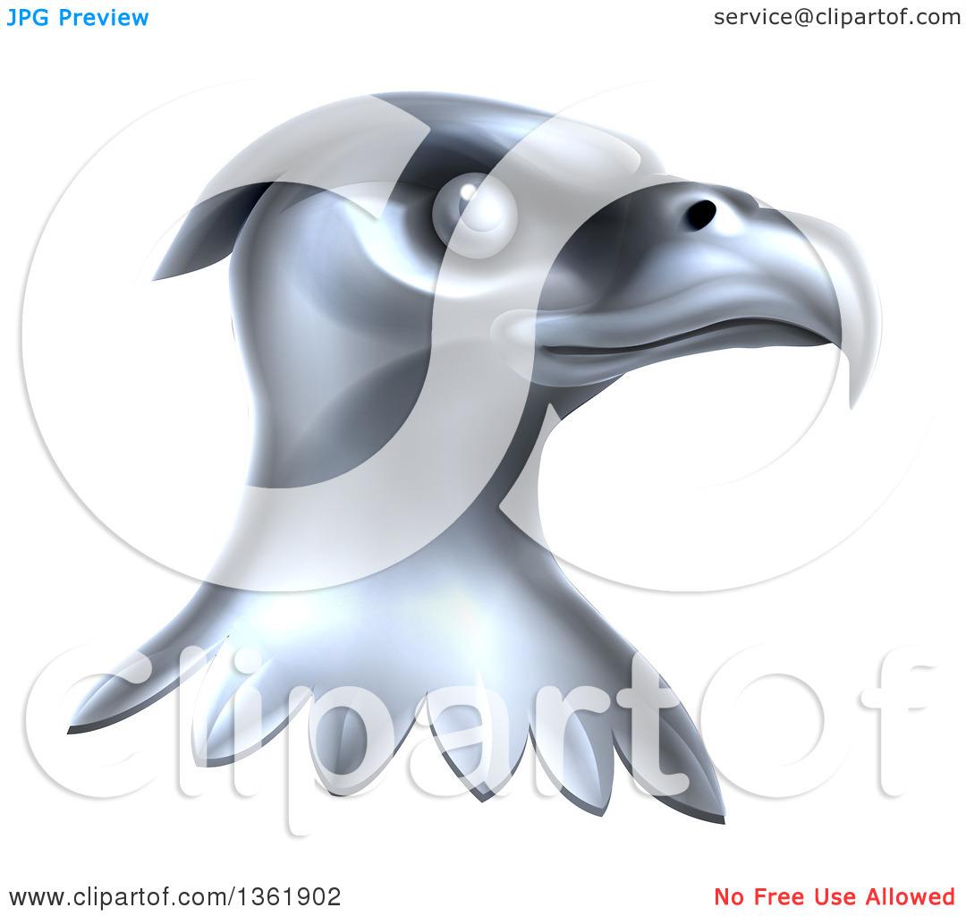 Clipart of a Metal Silver Bald Eagle Head.
