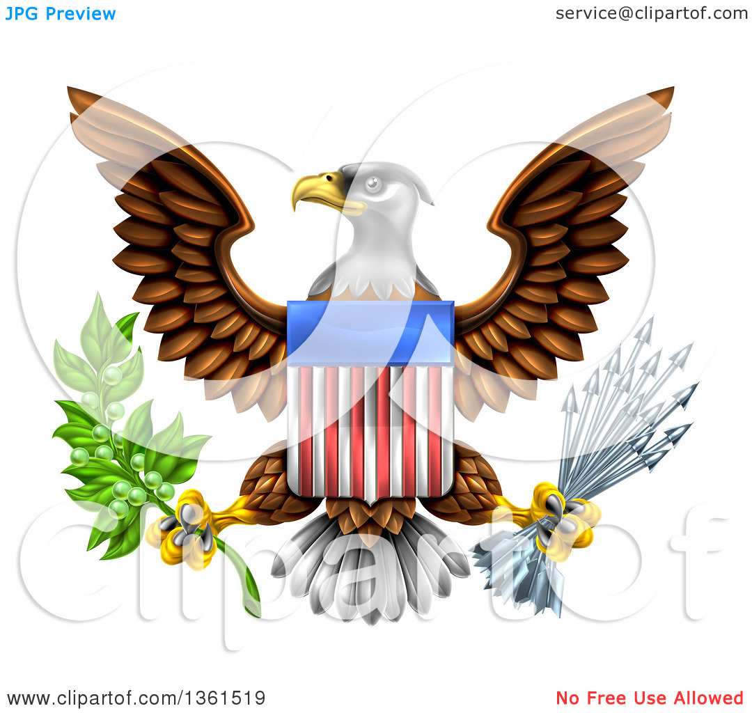 Clipart of the Great Seal of the United States Bald Eagle with an.