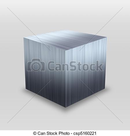 Clipart of 3D Metal Box.