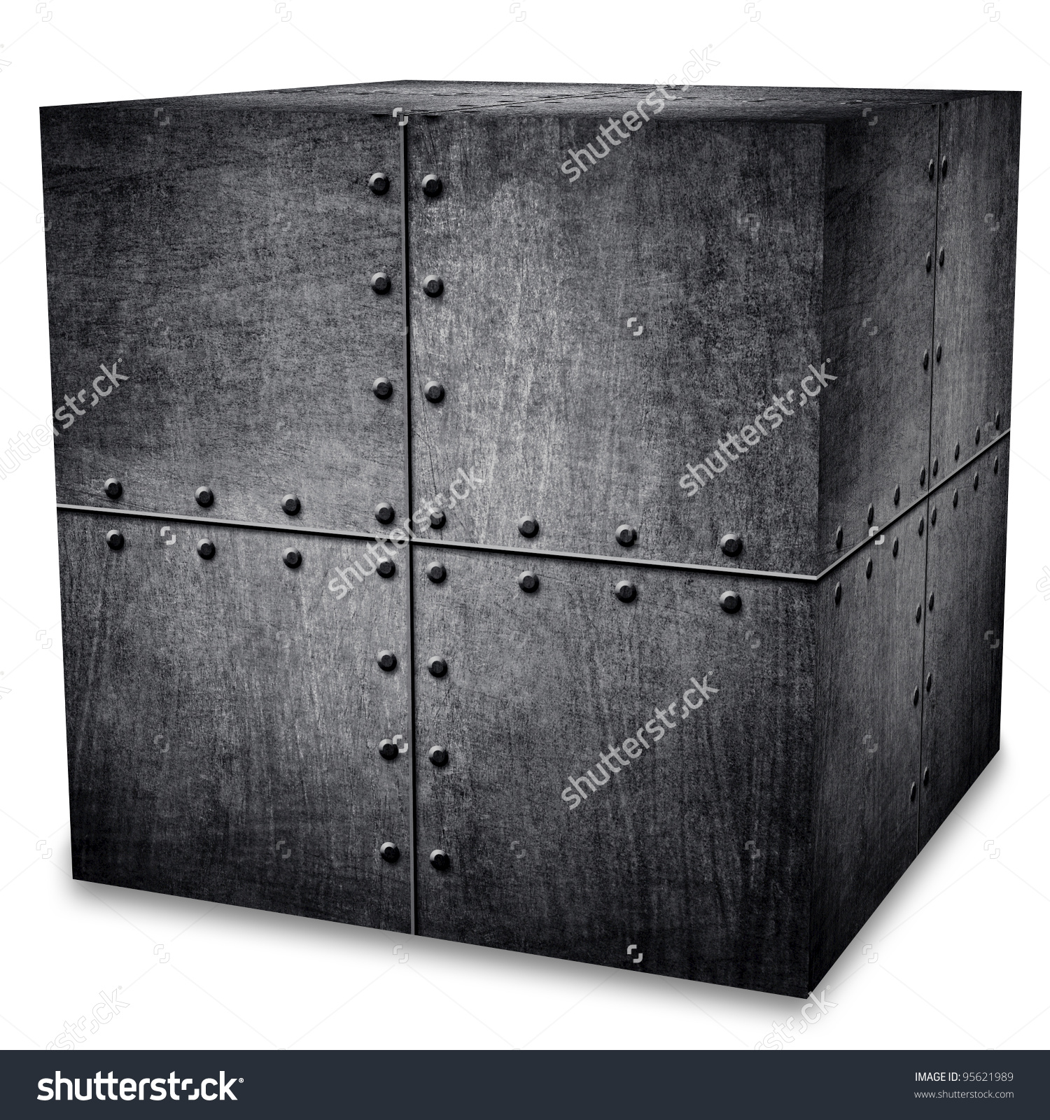 Metal Box Isolated Clipping Path Stock Photo 95621989.