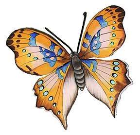 Hand Painted Metal Butterfly in Shades of Brown.