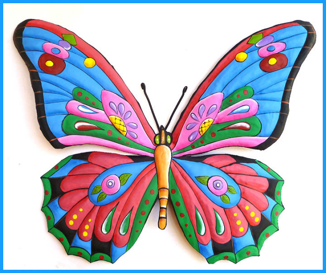 Hand Painted Metal Butterfly Wall Hanging.