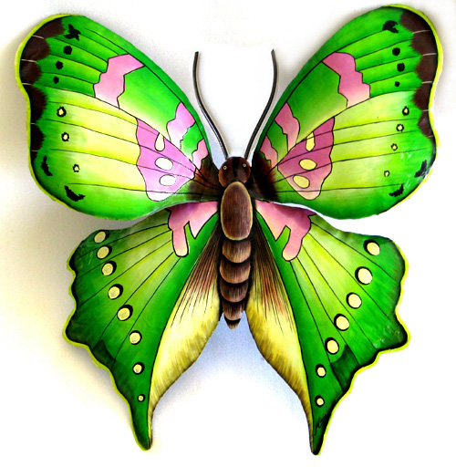 Lovely hand painted metal butterfly wall hanging. A beautiful.