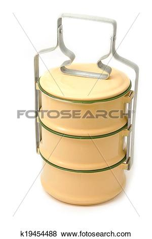 Pictures of Yellow metal carrier tiffin, thai food carrier.