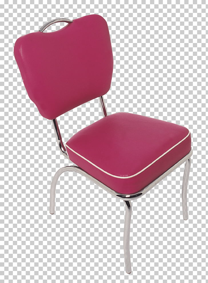 Diner Chair, red leather padded metal chair PNG clipart.
