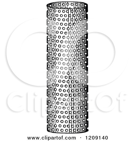 Clipart of a Vintage Black and White Perforated Metal Cylinder.