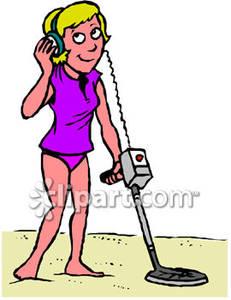 Woman Using a Metal Detector.