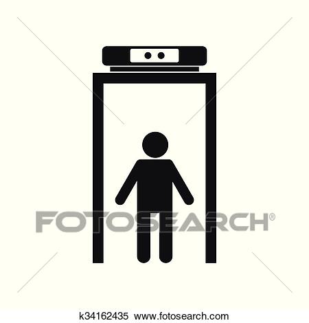 Metal detector black simple icon Clipart.