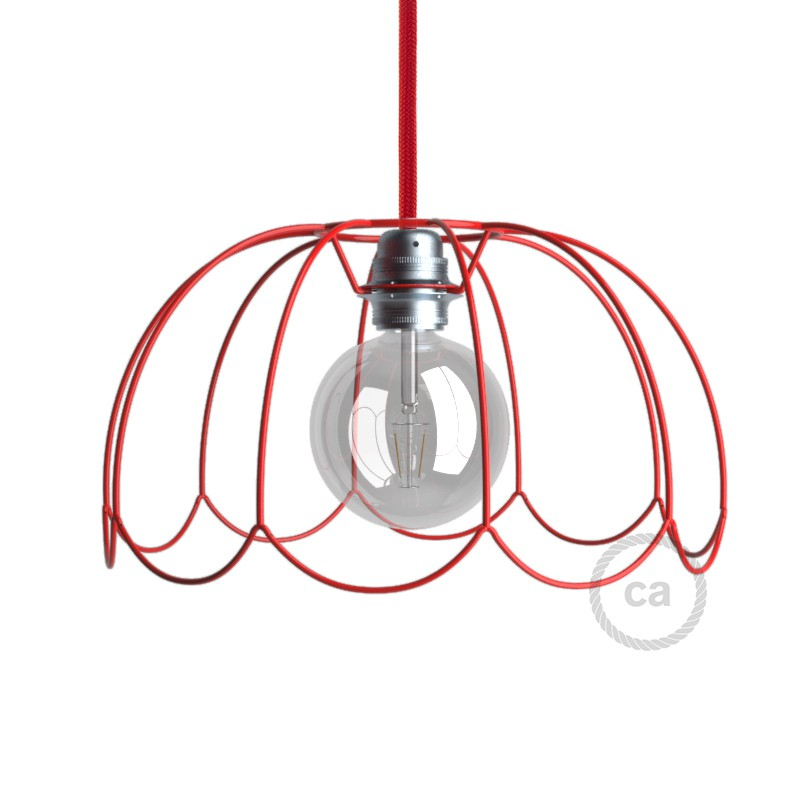 light bulb cage lampshade Flower Red colored metal E27 fitting.
