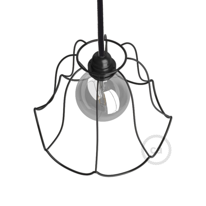 light bulb cage lampshade Susy Black colored metal E27 fitting.