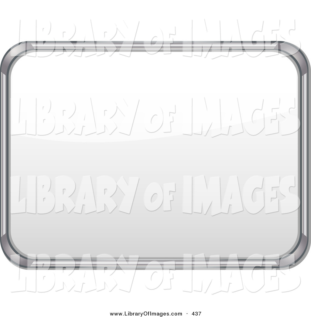 Clip Art of a Metal Frame White Board with Blank Space on White by.