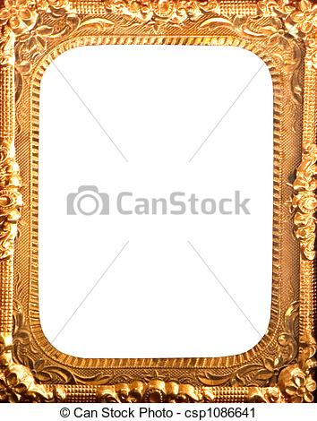 Stock Photography of antique gold metal frame.
