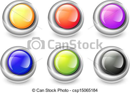 Vector of Round Glossy Balls in Metal Frames.