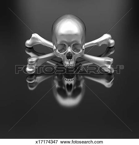 Picture of Metal skull and crossbones on glossy surface x17174347.