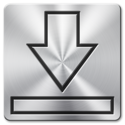 Glossy Metal Download Square Icon, PNG ClipArt Image.