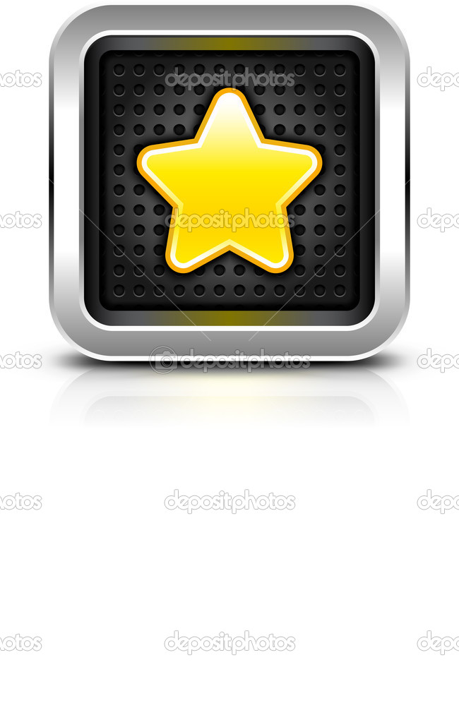 Yellow gold star icon chrome metal frame button dark perforation.