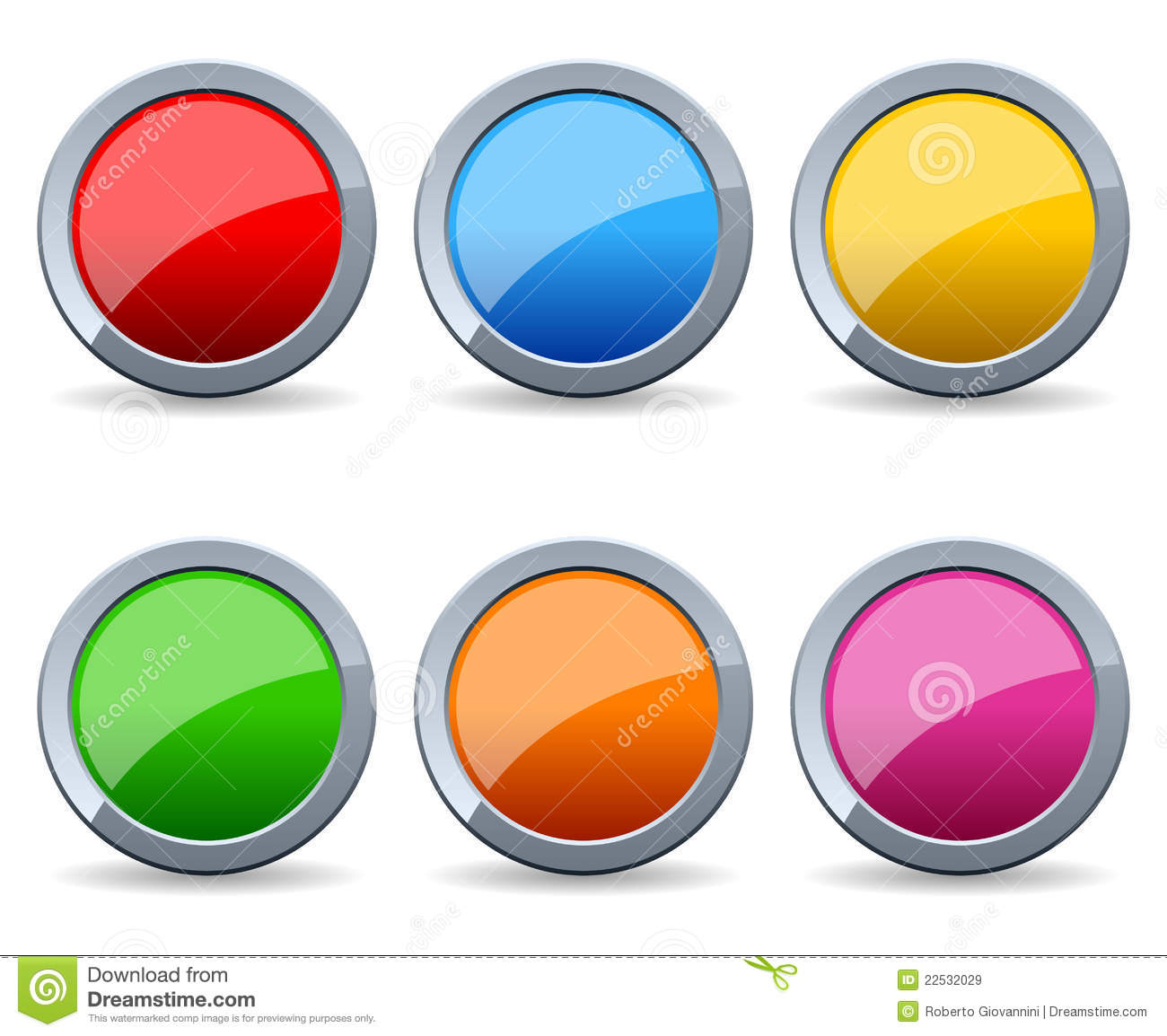 Glossy Round Metal Buttons Set Royalty Free Stock Images.
