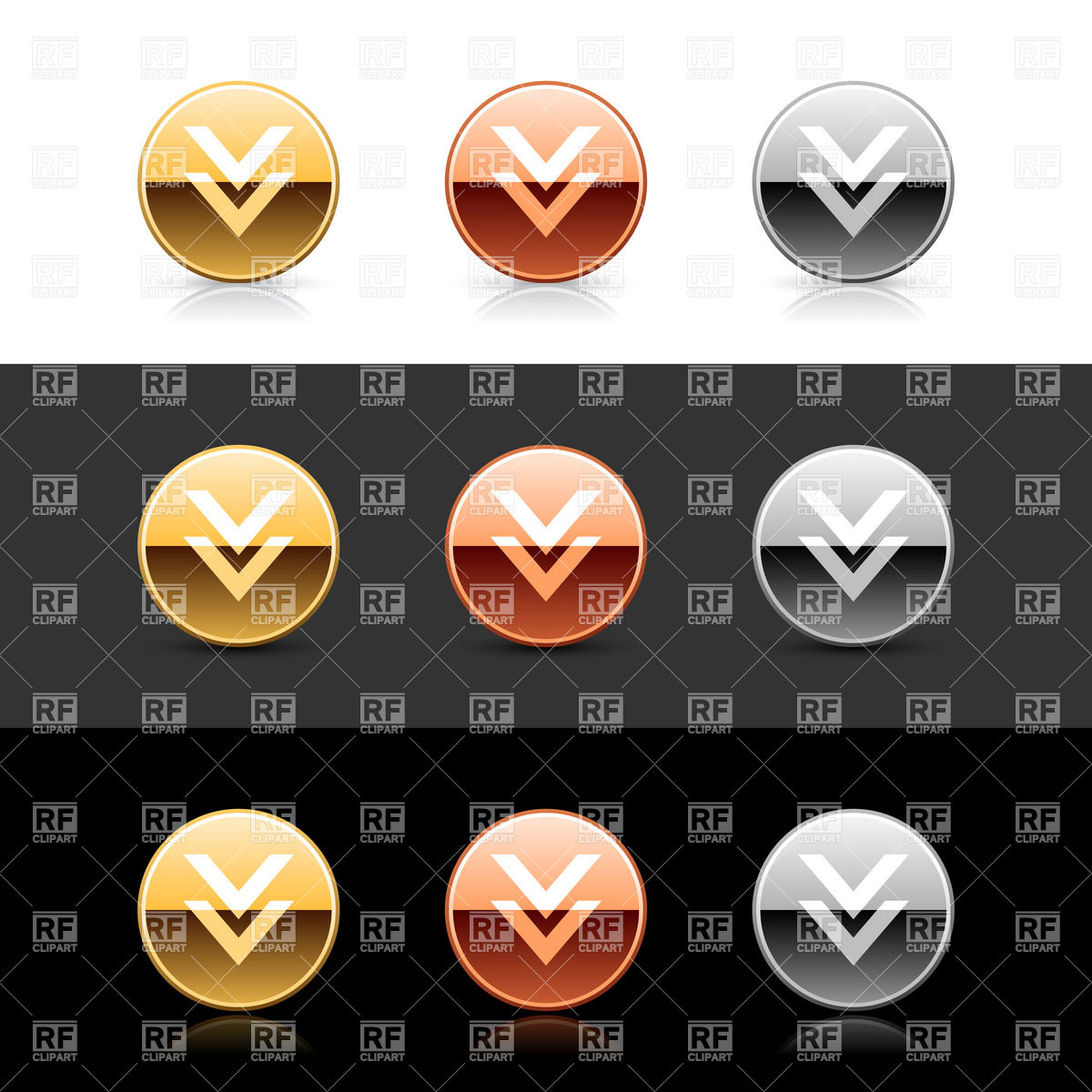 Metal glossy download buttons Vector Image #13960.