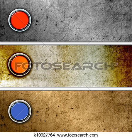 Drawings of Glossy buttons on metal backgrounds k10927764.