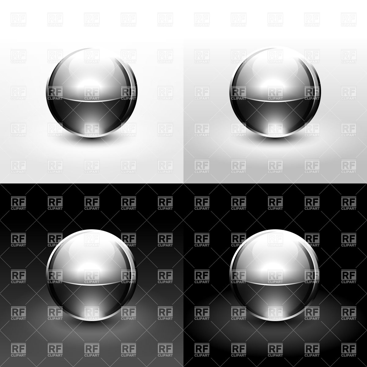 Silver metal glossy ball Vector Image #13174.