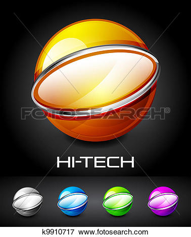 Clip Art of Set of color glossy sphere with metal elements.
