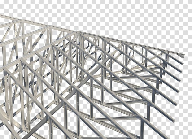 Steel frame Structure Truss Framing, others transparent.