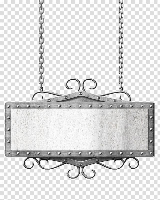 Rectangular signage frame illustration, Metal Chain, chain.