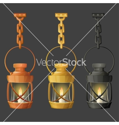 Set of metal lamps or lanterns holding on chain vector by 0mela.
