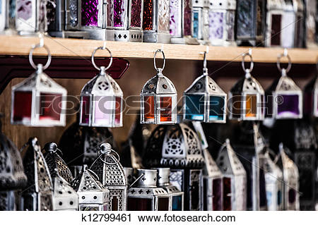 Stock Photography of Moroccan glass and metal lanterns lamps in.
