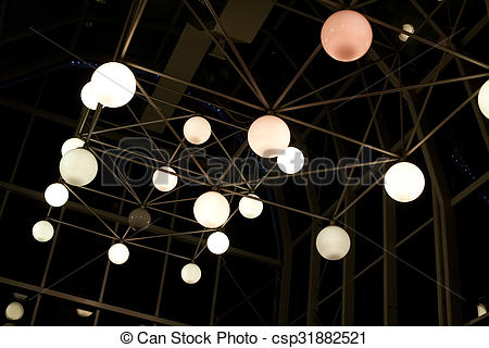 Stock Photo of spherical lamps on metal design.