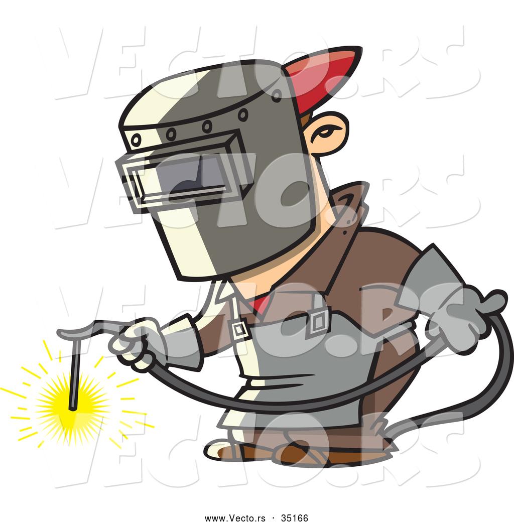 Vector of a Cartoon Man Welding Metal at Work by Ron Leishman.