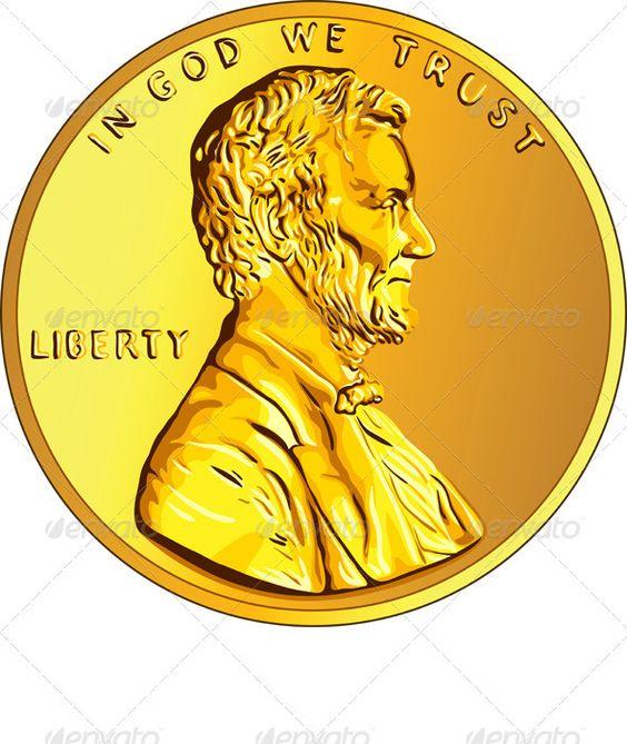 Vector American Money Gold Coin.