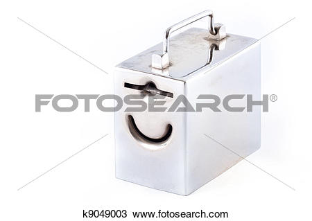 Stock Photo of metal money box and coin over white k9049003.