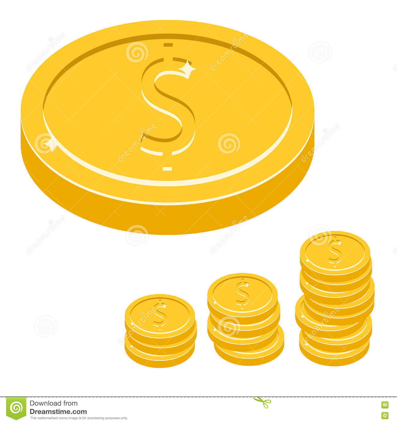 Dollar Coin Vector Icon Illustration. Gold Metal Money Stack.
