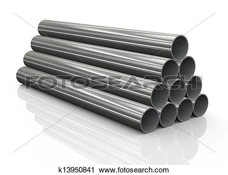 Clipart of 3d stack of steel pipes k13950841.