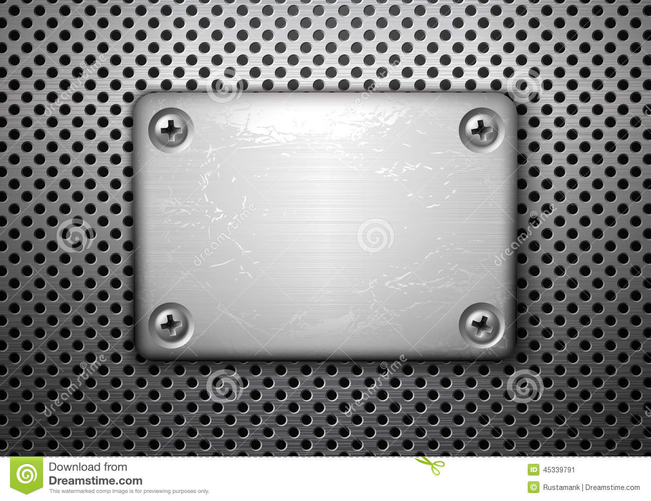 Metal Plate With Screws Stock Vector.