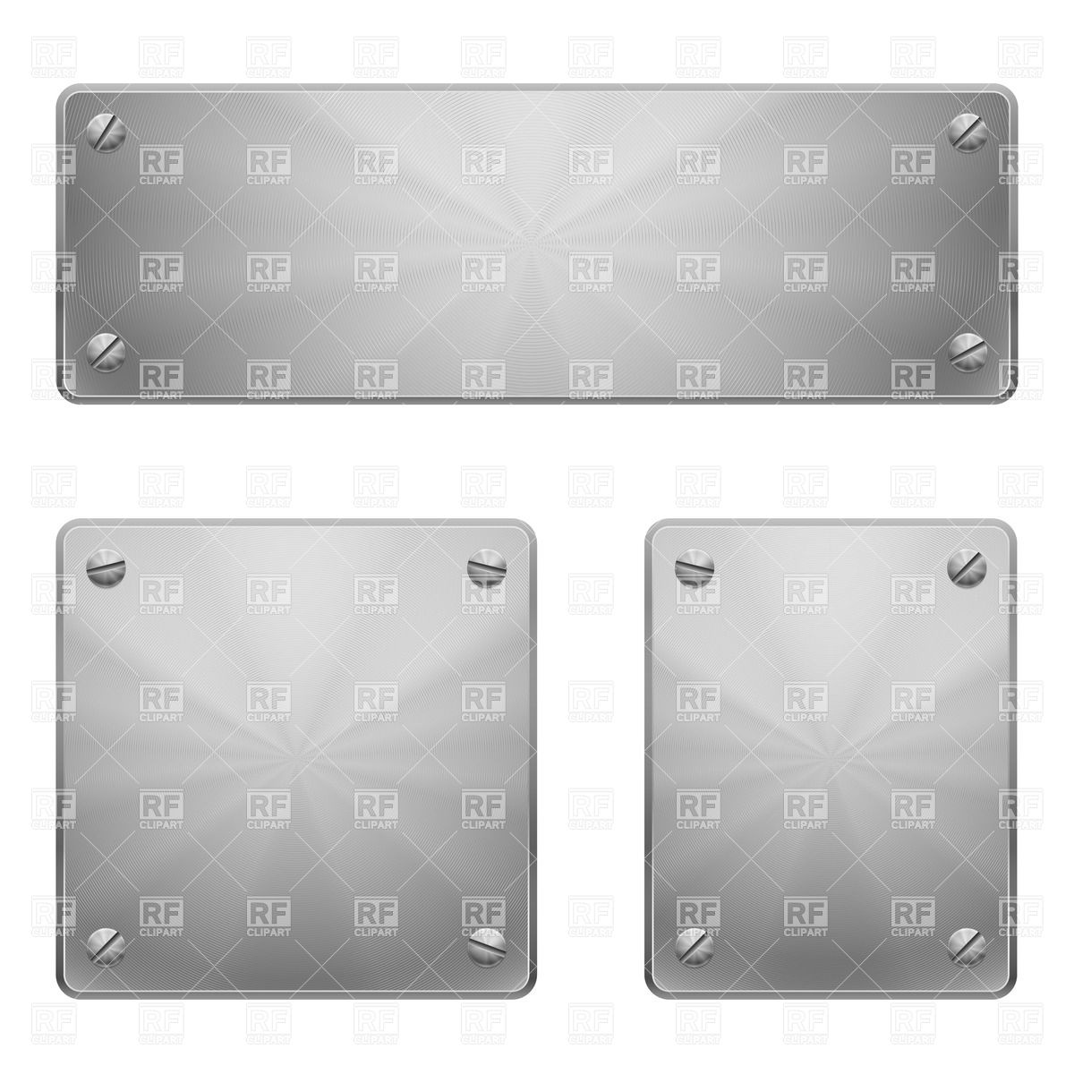 Metal plates with slot screws Vector Image #31025.